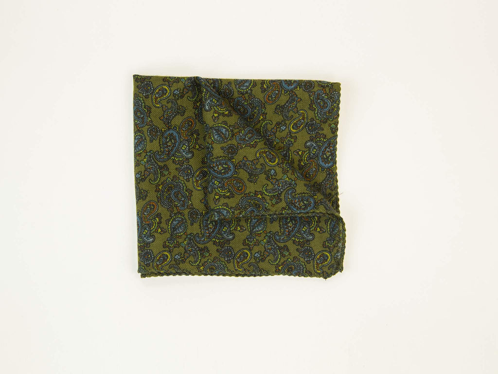 40 Colori Antique Paisley Silk & Wool Pocket Square