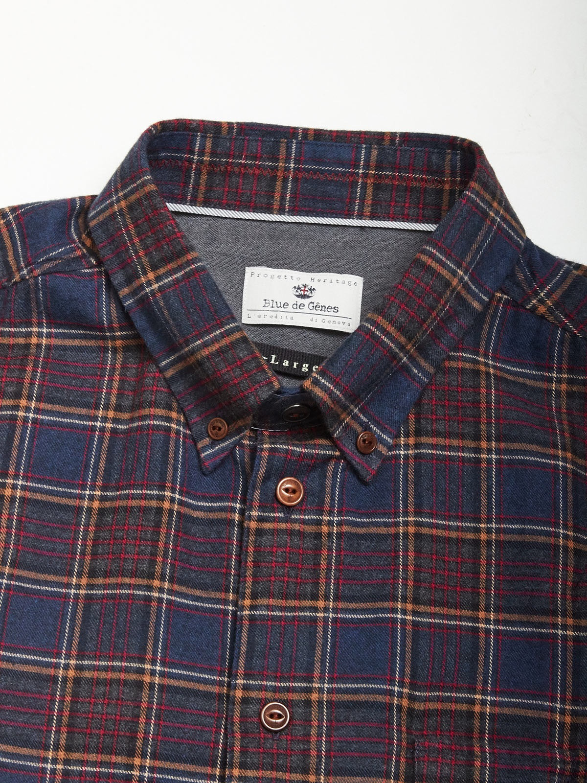 Blue de Genes Navy Check Polar Albiate Shirt