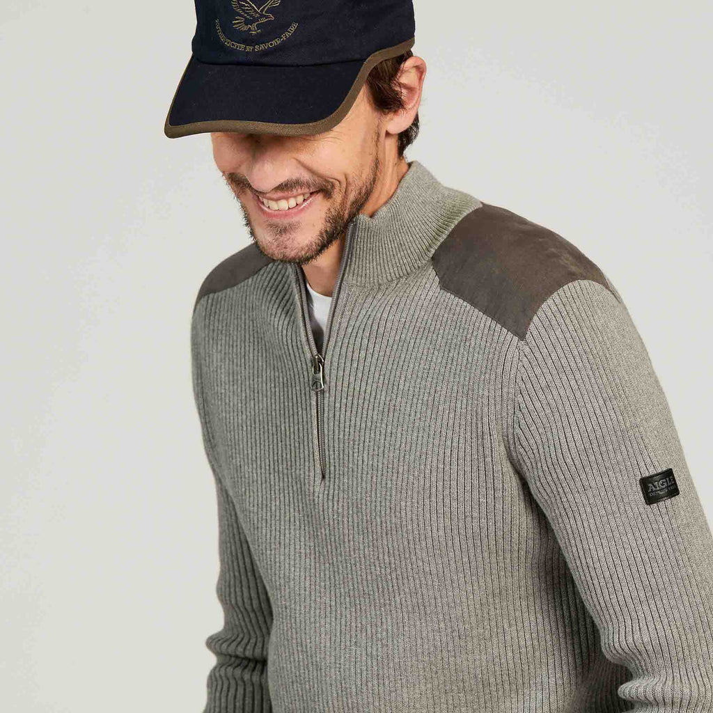 Aigle Agriat Light Heather Zip Neck Sweater