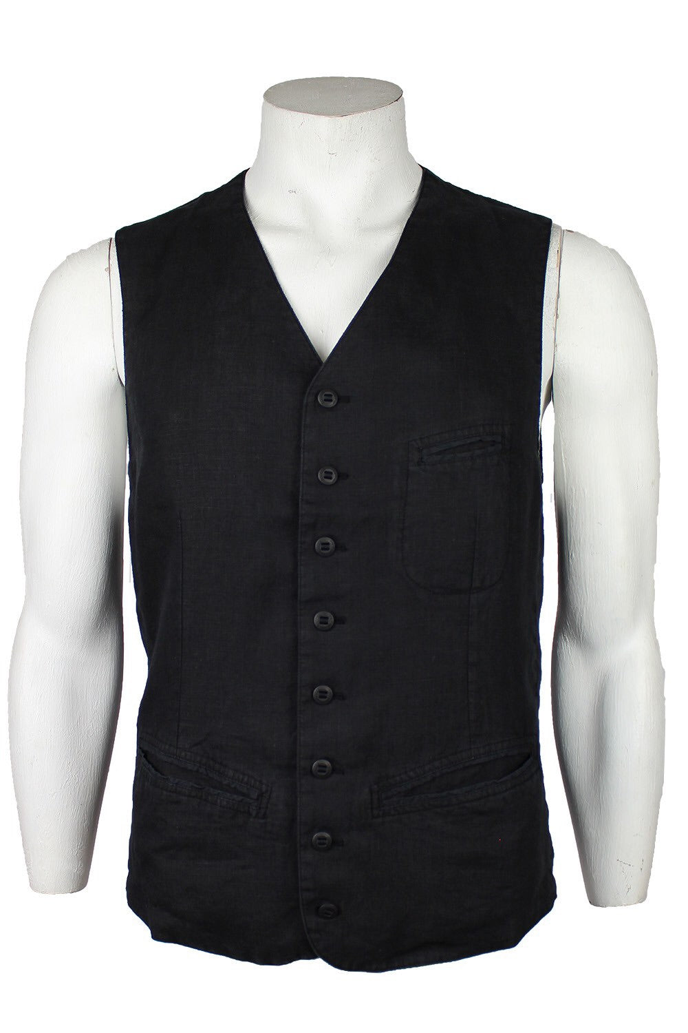 Hannes Roether Black Linen Vest