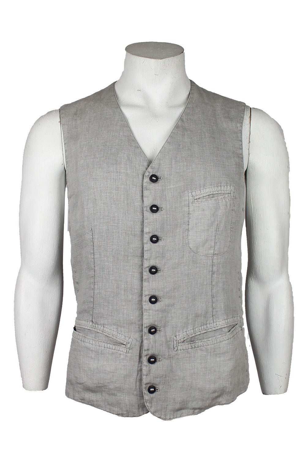 Hannes Roether Grey Linen Vest - LAST SIZES!