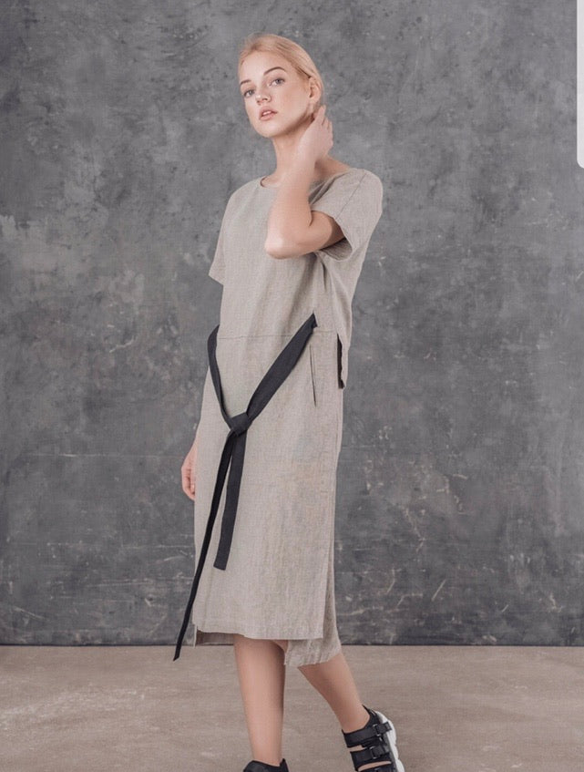 Lu.El Linen Dress Grey and Natural SL8632