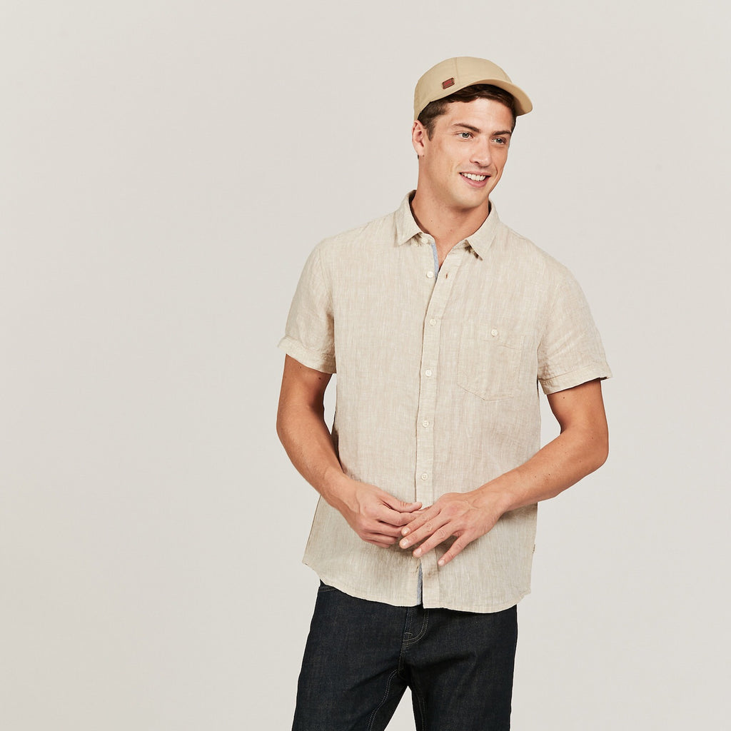 LAST SIZES REDUCED! Aigle Light Sand Short Sleeve Linen Shirt