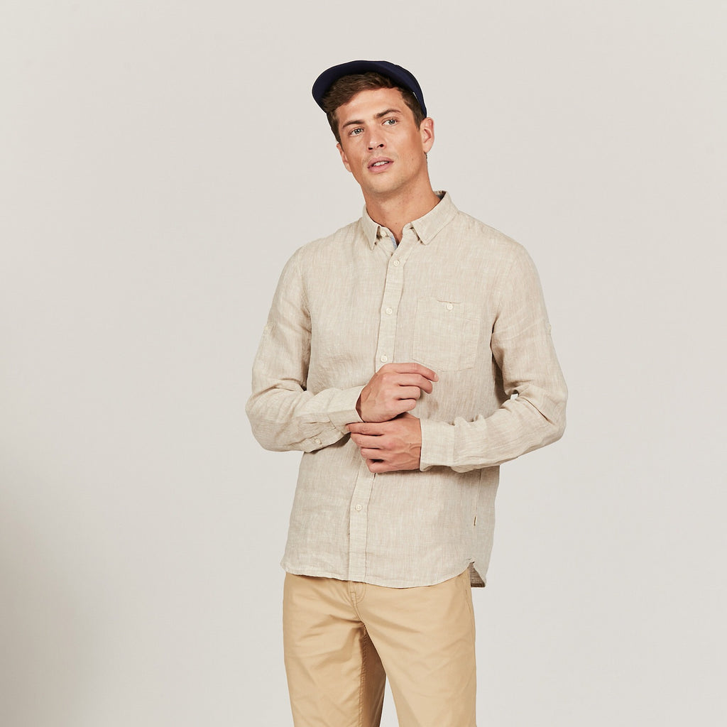 REDUCED!! - Aigle Light Sand Linen Shirt