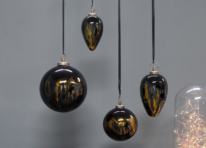 Nkuku DANOA Giant Drop Aged Amber & Black Baubles