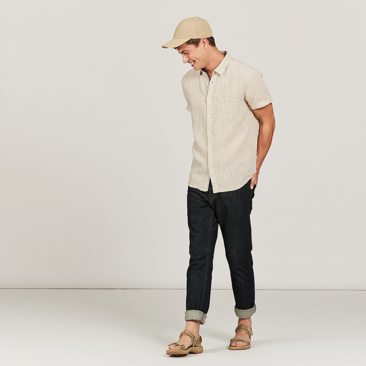 Aigle Light Sand Short Sleeve Linen Shirt