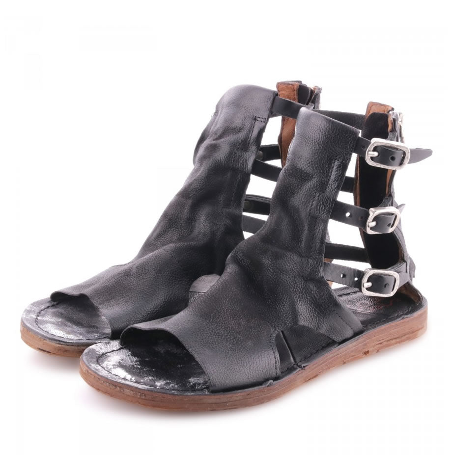 A.S.98 Nero and Inox Ryde Leather Sandals 534045