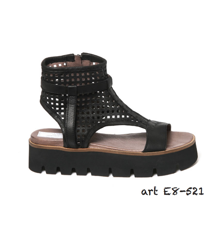 Lofina Sandals - Gasoline Nero Leather Sandals E8-521