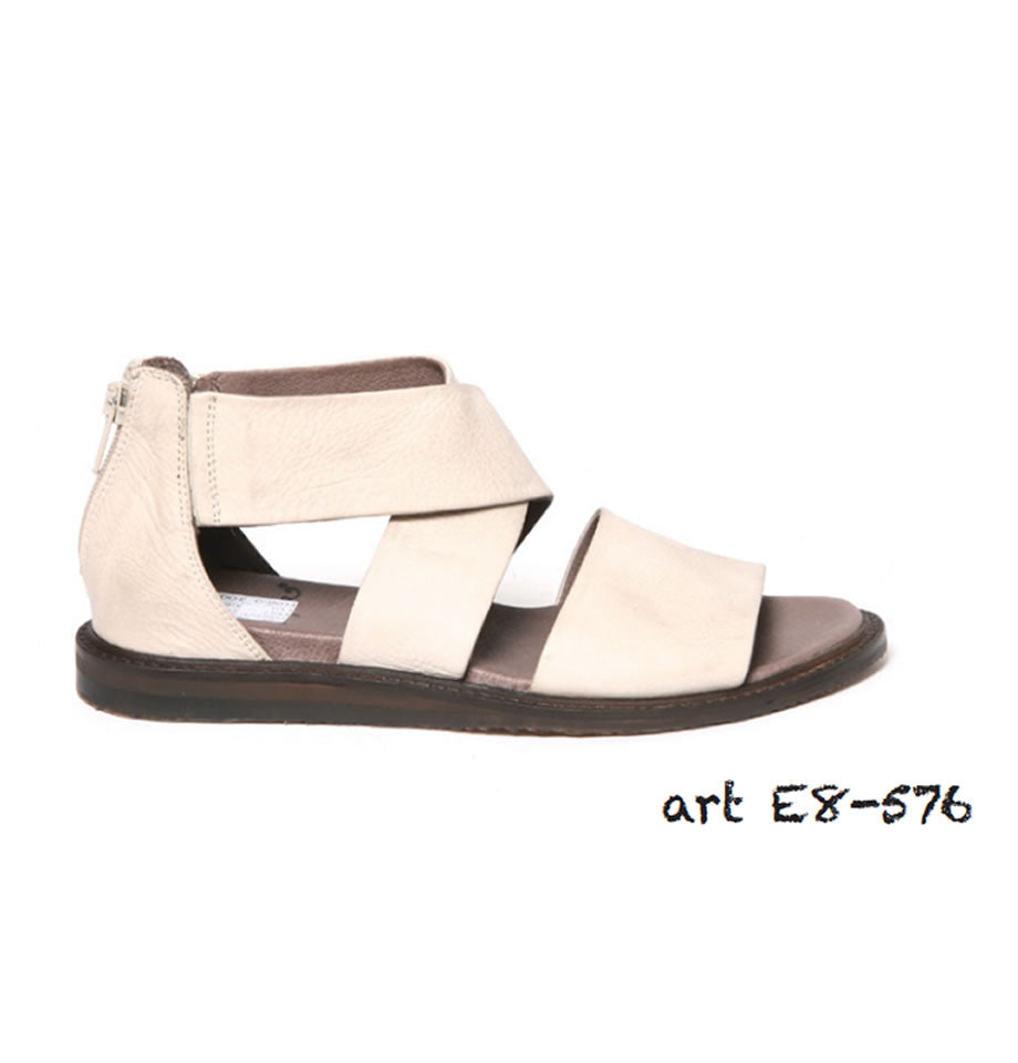 Lofina Sandals - Gasoline Greige Leather Sandals E8-576
