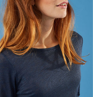 Somewhere Paris Lalam Indigo 3/4 sleeve T-shirt