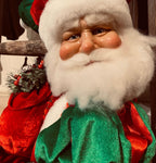 Extra Large Grumpy Red and Green 32 inch Sitting Santa