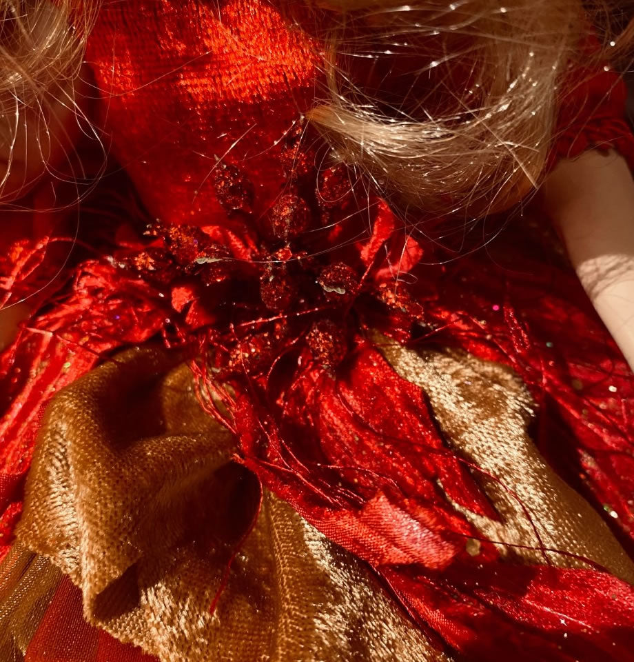 Poinsettia Red and Gold 17inch Fairy
