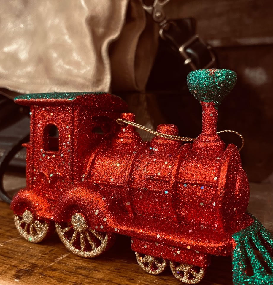 Christmas Glitter Train Red