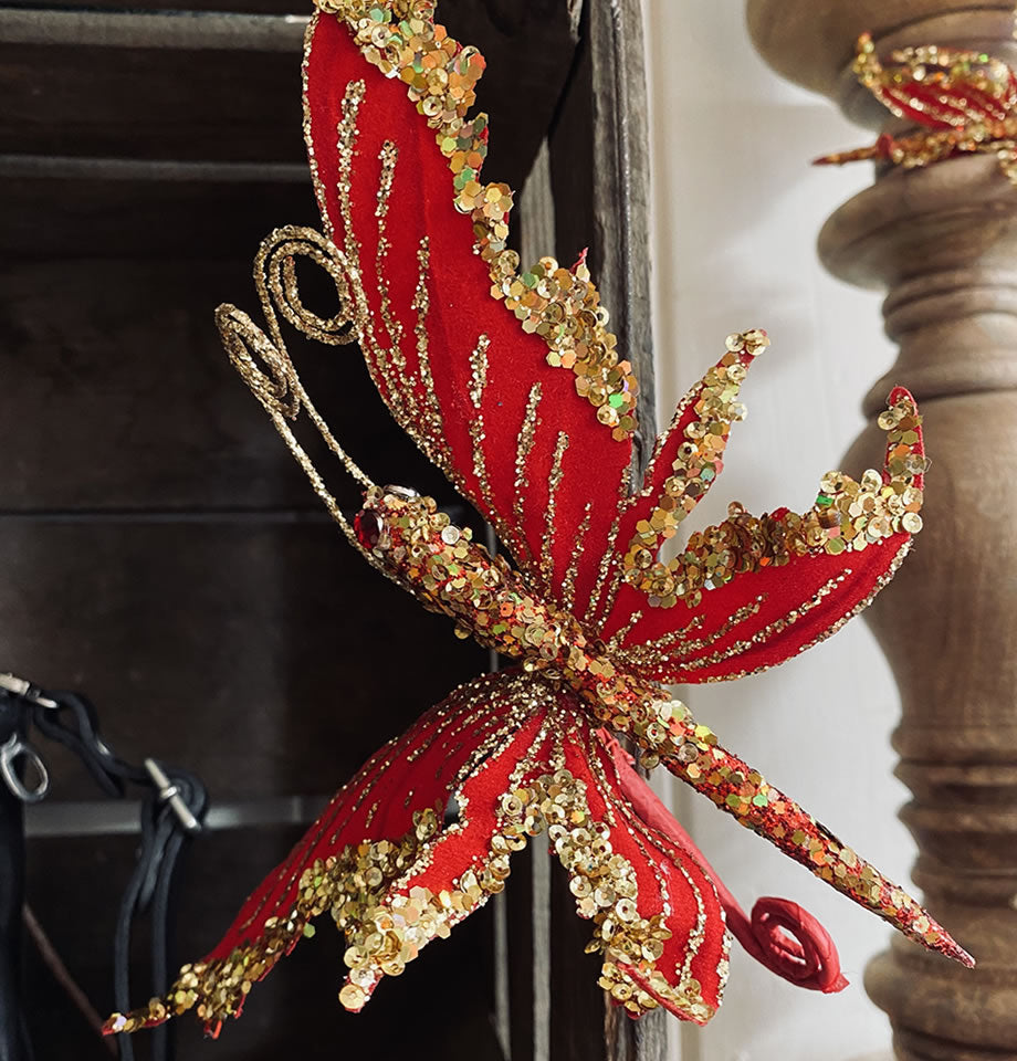 Red and Gold Butterfly on Clip