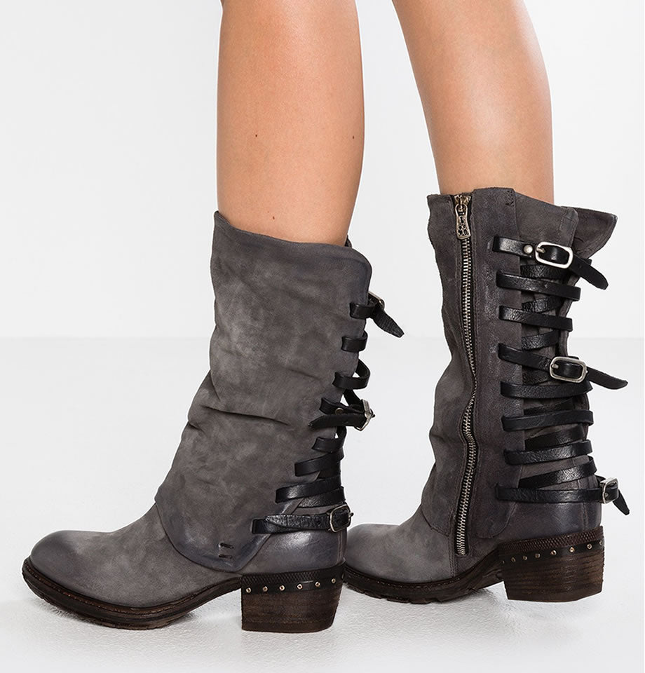 A.S.98 Nebbia and Nero Leather Strap Back Boots 239305