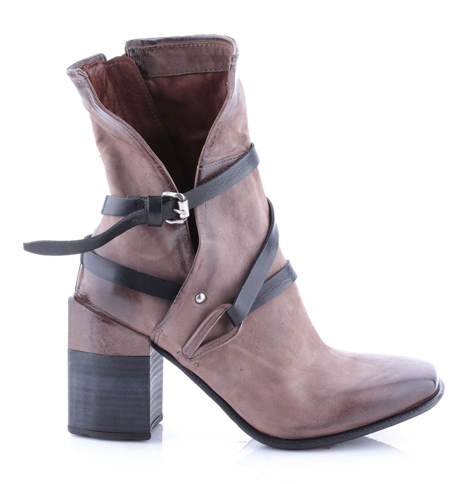 A.S.98 Fango and Nero Mid Calf Leather Grey Boots 585203
