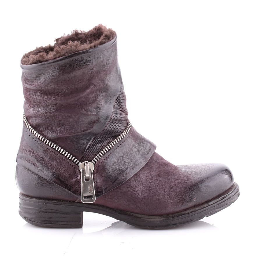 A.S.98 Liz Maroon Leather Boots With Faux Fur Lining 259276