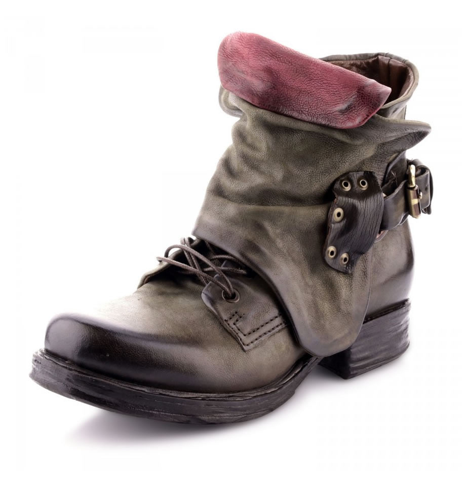 A.S.98 Saintec Jungle Green and Chianti Leather Boot 259211