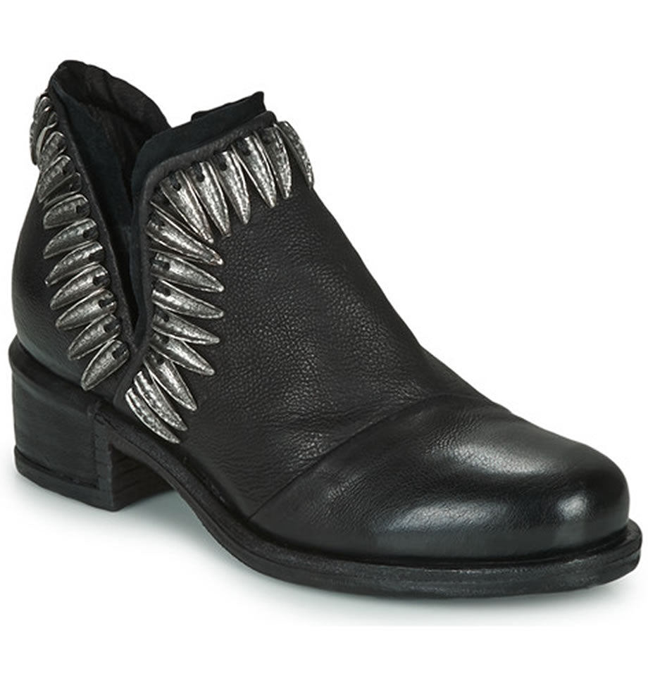 A.S.98 Nero Black Leather and Metal Cut Out Shoe 545222