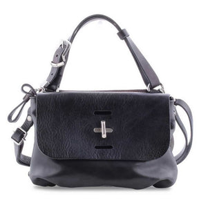 A.S.98 Black Nero Leather Cross Body Bag 200491