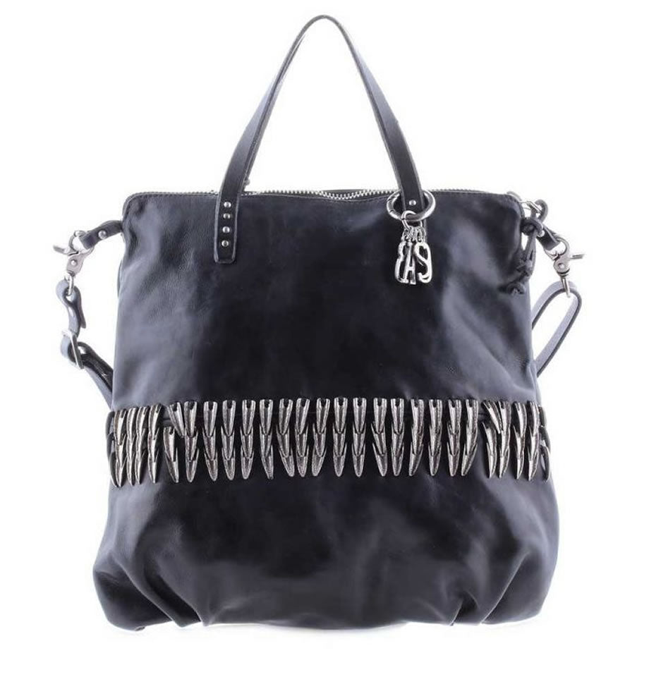 A.S.98 Nero Black Leather Bag 200538