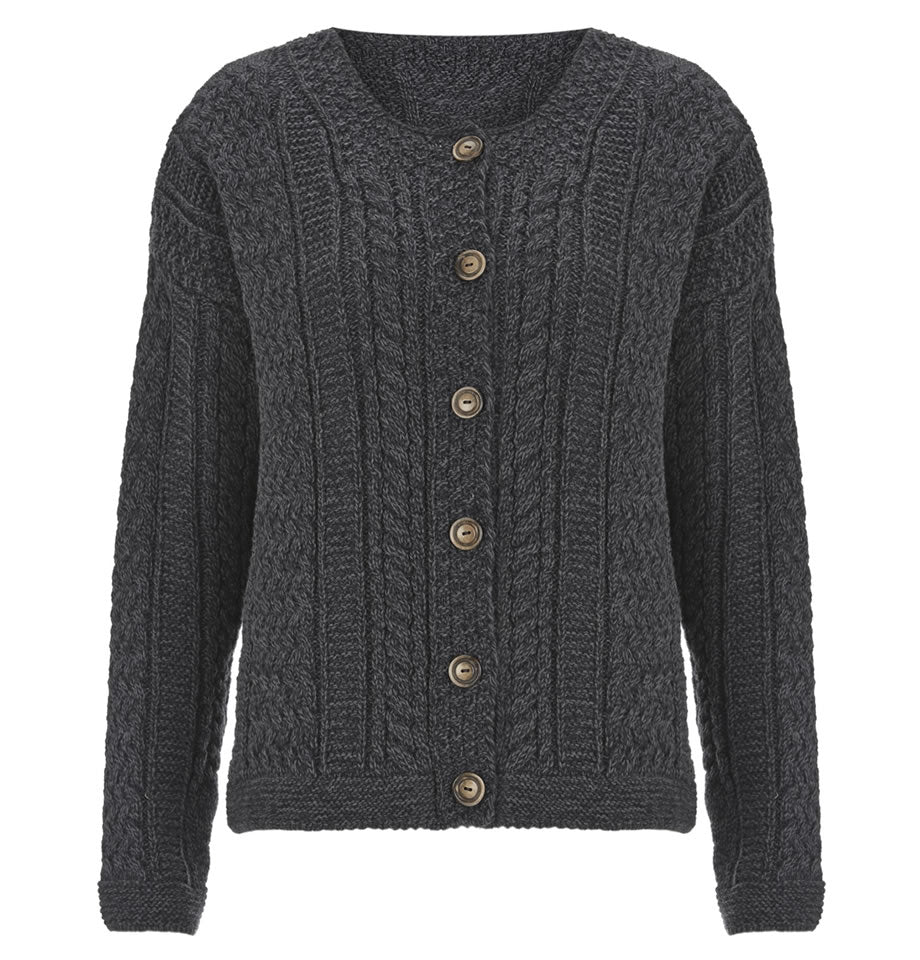 Celtic & Co Clothing - Cable Cardi Short Slate Grey