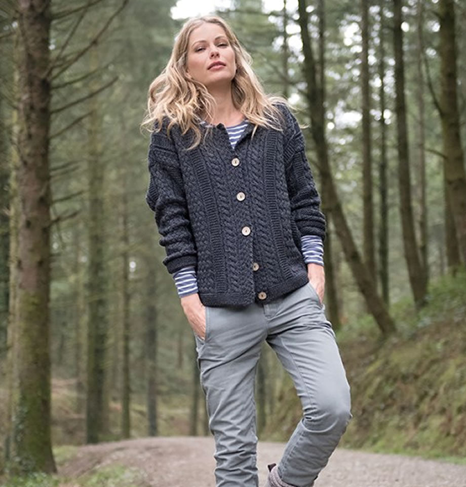 Celtic & Co Cable Short Cardi Slate Grey