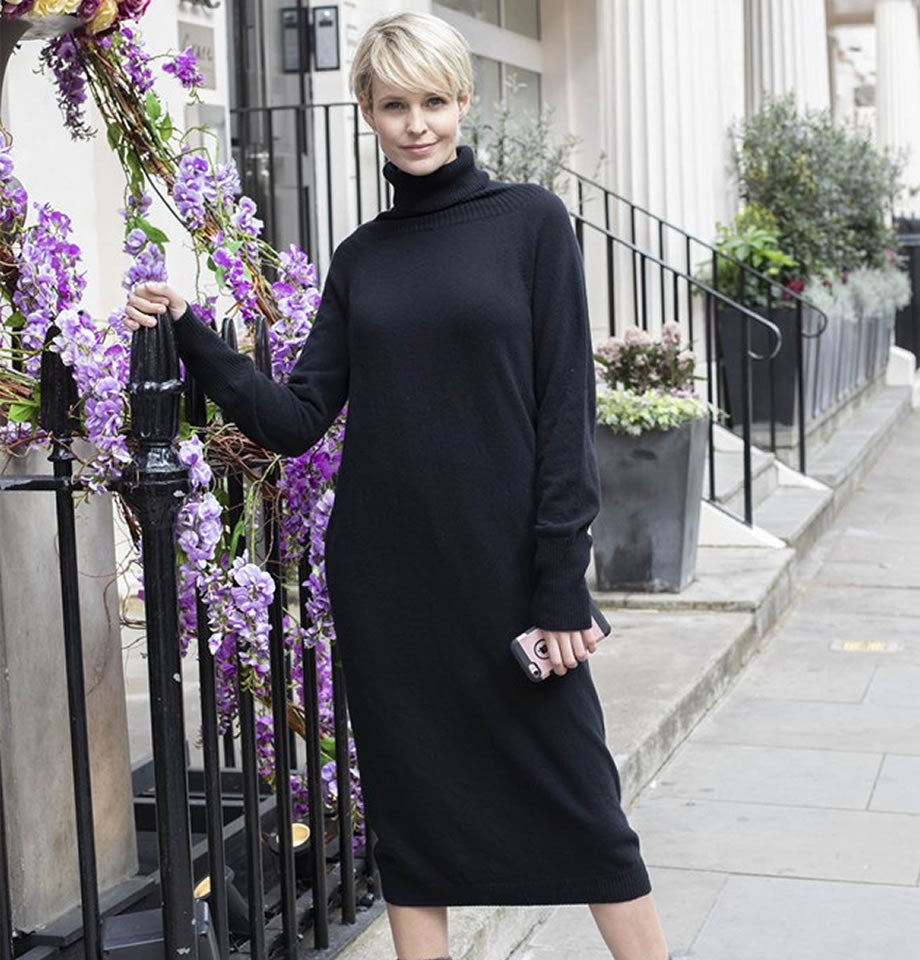 Celtic & Co. Super Soft Roll Neck Dress Black