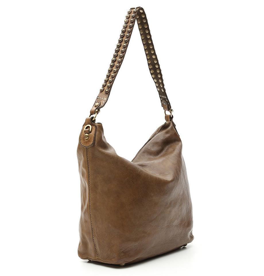 Campomaggi - Large Hobo Bag in Military Green With Onice Studs - C009500ND