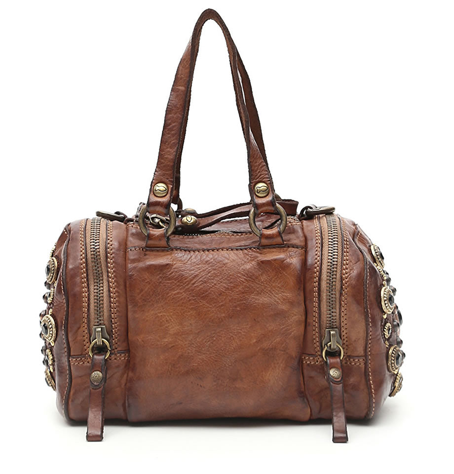 Campomaggi - Bowling Bag in Dark Brown with Larimar Studs - C009150ND