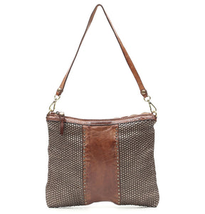 Campomaggi - Woven leather, Pochette Bag in Cognac and Steel - C009660ND