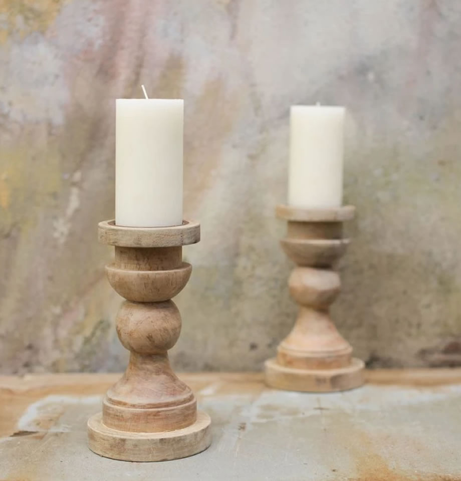 Kibibi Sustainable Mango Wood Candlestick