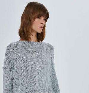 Hand Knitted Cotton Pullover Ice Blue U10
