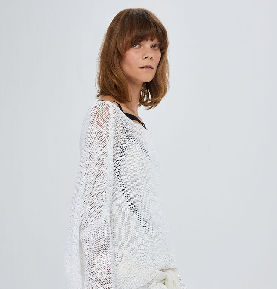 Hand Knitted Cotton Pullover Off White U43