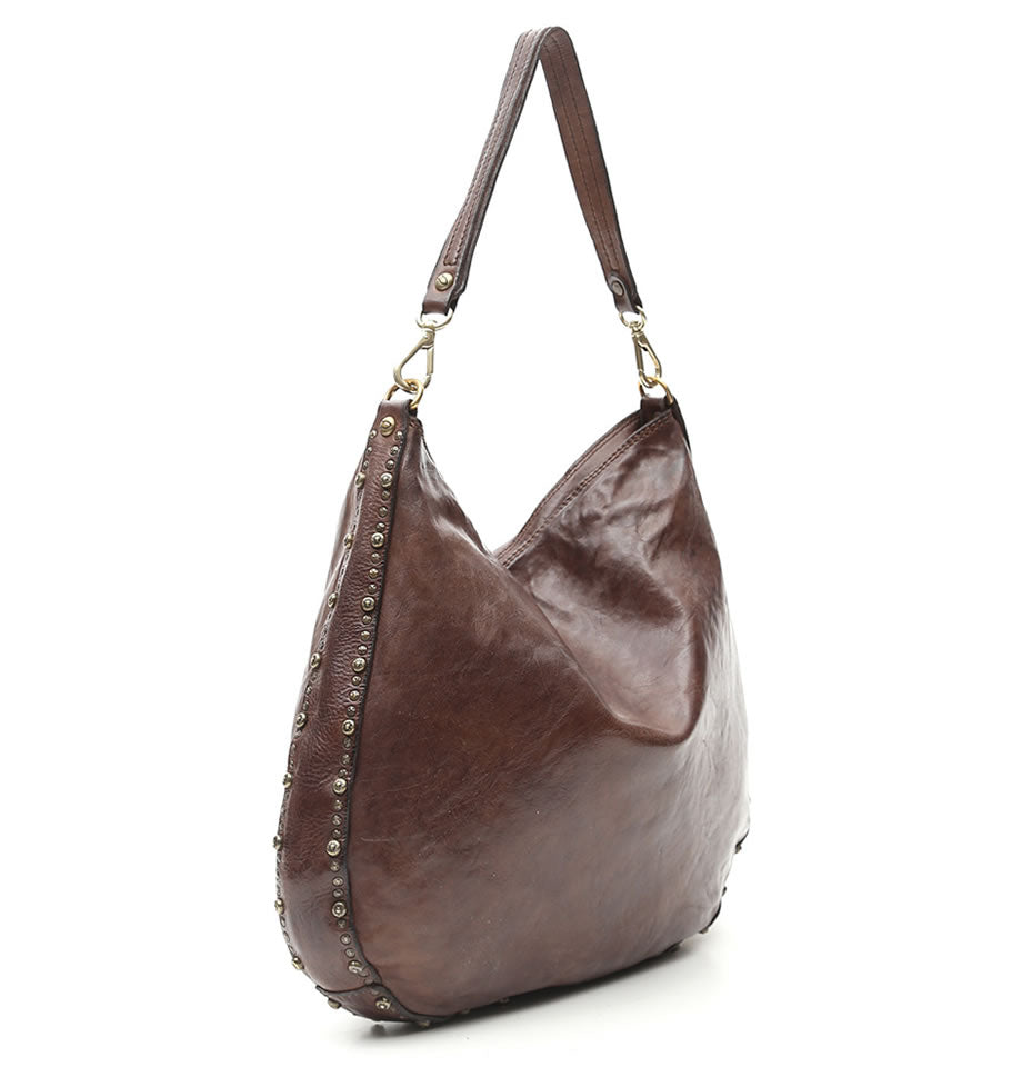 Campomaggi - Large hobo bag, Dark Brown with Diaspro Studs, C009420ND