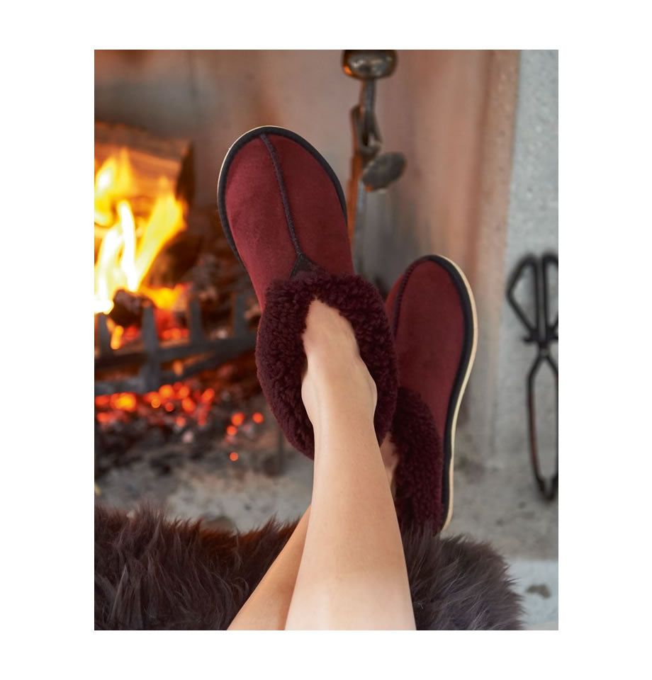 LAST PAIR! Celtic & Co. Sheepskin Boots -Bootee Slippers Claret
