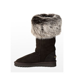 LAST PAIR! Celtic & Co. Sheepskin Boots - Toscana Calf Boot Mocca Snow Tip