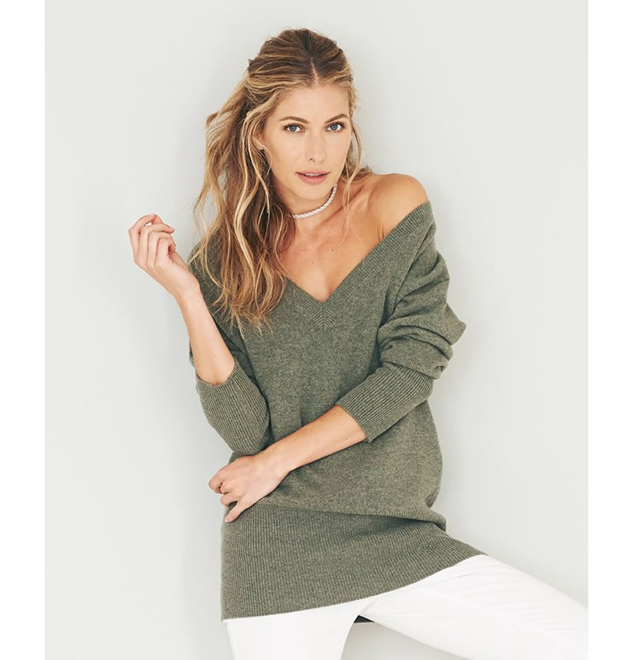 Celtic & Co. Clothing - Easy V Neck Jumper Moss Green