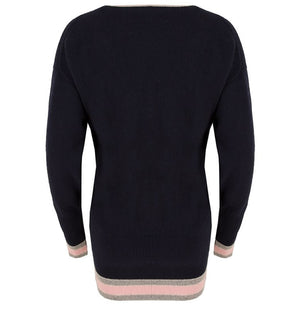 Celtic & Co. Clothing - Easy V Neck Jumper Navy and Blush Tip
