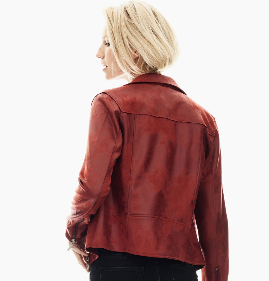 Fired Brick Suedette Biker Jacket GS000890