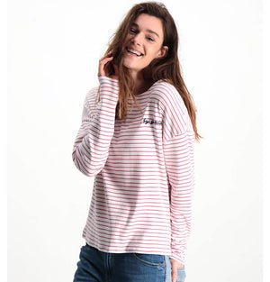 Garcia Ladies Long Sleeve Stripe T-Shirt M80006 Rose