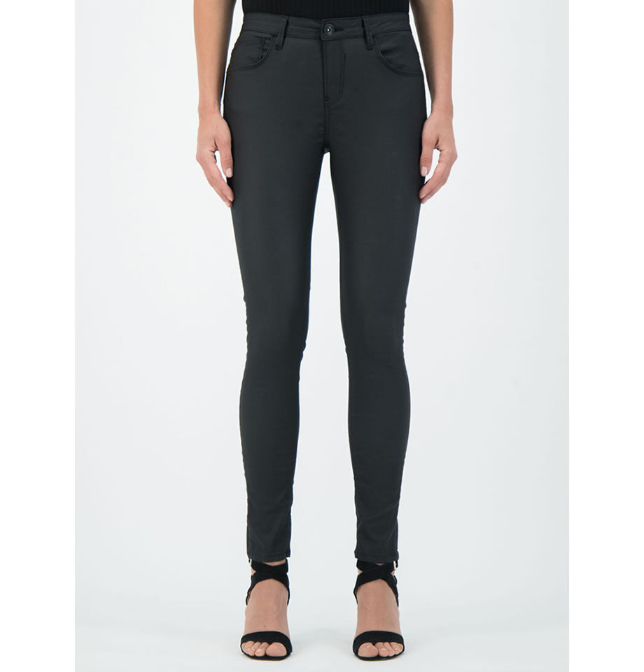 LAST PAIR! Celia Mid Rise Leather Look Black Cotton Stretch Trouser