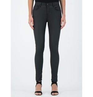 Celia Mid Rise Leather Look Black Cotton Stretch Trouser