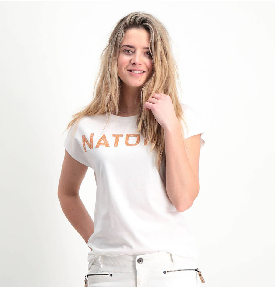 Garcia Ladies Short Sleeve NATURE T-Shirt Off-White Q80002