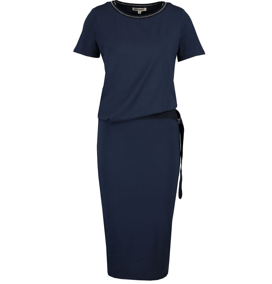 Garcia Ladies Cotton Belted Dress Marine Navy O80084