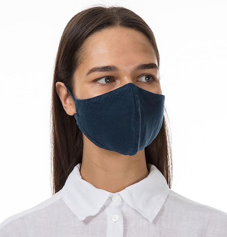 Linen Protective Face Masks -Navy Col.184