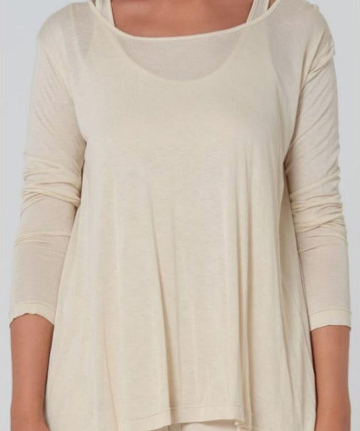 Acioa Long Sleeve Button Back Tee - Two Colours