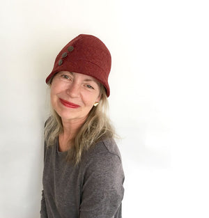 KH Wool Hat - Kathy Red Herringbone