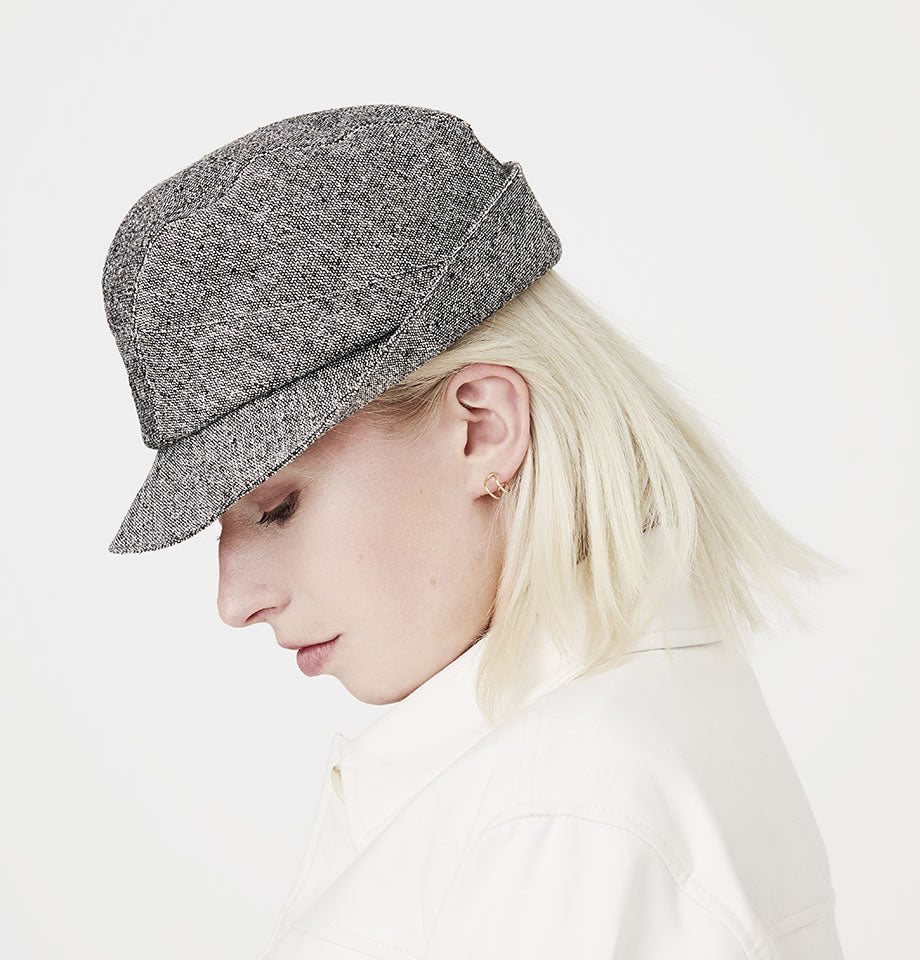 Karen Henrikson Hat - Denham Black and white silk Tweed