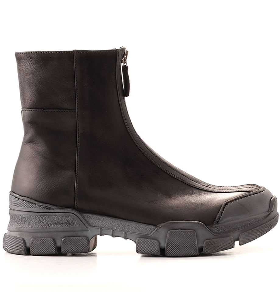 LAST SIZE! Gasoline Zip Front Leather Boots Nero 21326